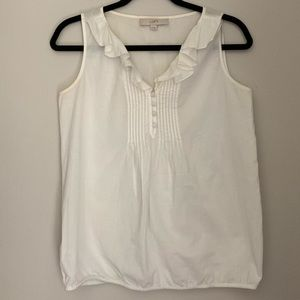 White Tank with Ruffle Collar